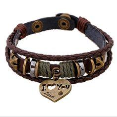 Jiayiqi Fashion Retro Beads Brown Multi-Strands Wrap Leather Bracelets For Men Jewelry With Heart Words I Love You Pendant Cheap Bracelets, Bracelets For Men, Fashion Bracelets, Bangle Bracelets, Leather Bracelets, Bangles, Bracelet Couple, Heart Bracelet, Valentines Jewelry