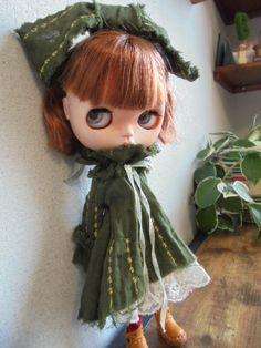 ◆ ブライスちゃん Outfit  くしゅ くてっ ワンピース  モスグリーン4点セット ◆