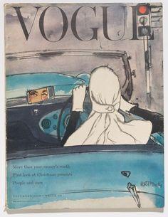 British Vogue featuring work by Bouché and Gruau Nov 1953  #vintage