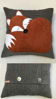 This is gorgeous! Sleeping fox cushion I found on Etsy, handmade with faux suede #ad #Etsy #fox #cushion