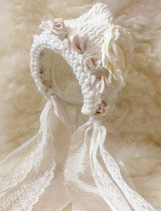 Newborn Hat, Newborn Bonnet, White, Off-White, Cream, Lace, Photo Prop. $26.00, via Etsy.