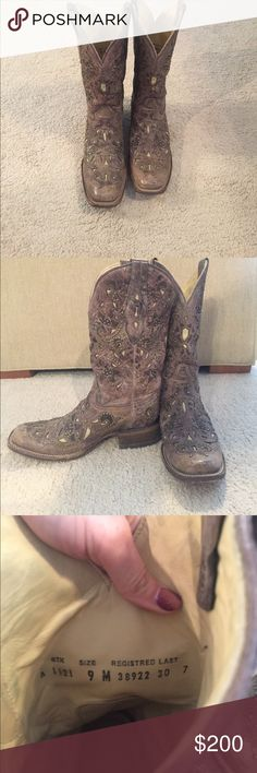 Corral vintage label cowgirl boots Corral brand vintage style cowgirl boots size 9! Square toe means an average width fit, definite not too tight like many cowboy boot styles! Light tan color with filigree cut out patter and studs. Barely worn in excellent condition! corral Shoes Heeled Boots