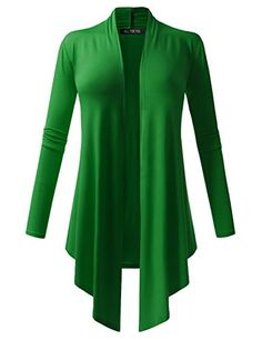 ALL FOR YOU Womens Soft Drape Cardigan Long Sleeve Green Small *** ** AMAZON BEST BUY ** #FancyDressunder20