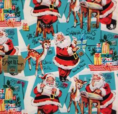 Make your holidays a little jollier with this gorgeous Denison wrapping paper from the This vintage paper is in mint condition, including the original price tag. -Size: -Quantity: 2 sheets -Features a charming print of Santa at the North Pole Vintage Christmas Wrapping Paper, Vintage Christmas Images, Old Fashioned Christmas, Christmas Gift Wrapping, Christmas Past, Retro Christmas, Vintage Holiday, Christmas Greetings, Christmas Holidays