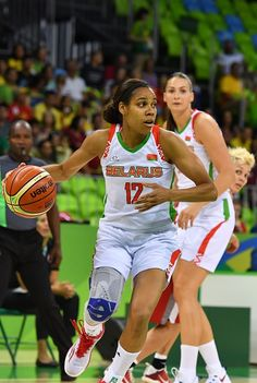 #RIO2016 Belarus' guard Lindsey Harding dribbles during a Men's round Group A basketball match between Venezuela and China at the Carioca Arena 1 in Rio de...
