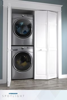 Spotlight on Whirlpool HybridCare™ True Ventless heat pump dryer and front load washer with closet-depth fit Storage, Closet Storage, Laundry Room, Whirlpool, Laundry Appliances, Laundry, Whirlpool Dryer, Dryer, Diy Plumbing