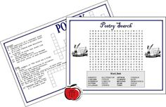 FREE Poetry Puzzles  It is almost April and that means Poetry Month!!!! I love teaching poetry to my students. I always find that their creativity surpasses my expectations.  Here are 2 poetry puzzles (a word search and a crossword) to add to your collection of activities. All you need to do is print and hand out :)Cheers 3-5 6-8 April English Language Arts literacy Poetry Terri's Teaching Treasures