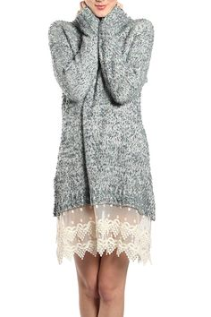 Sweater Dress with Lace Bottom Material Content: 100% Polyester Knit Care Instruction: Dry Clean Only