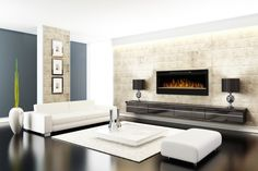 Wall-mounted fireplaces such as the Synergy from Dimplex have a linear look, similar to a flat screen TV. Because they mount right on a wall, they open up much more living space in a room while simultaneously serving as a beautiful focal point.