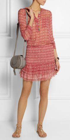 Zelia printed silk-chiffon mini skirt