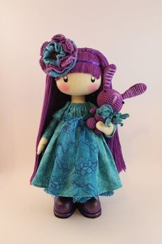 Doll Flossya purple and turquoise cloth doll ♡ by DollsLittleAngels