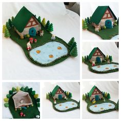 Lakeside Storybook Cottage Playscape Play Mat felt dollhouse pretend open-ended storytelling fantasy woodland fairytale fairy unisex child by MyBigWorld2015 on Etsy