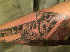 Arrow tattoo, gear tattoo,3D tattoo finally finished