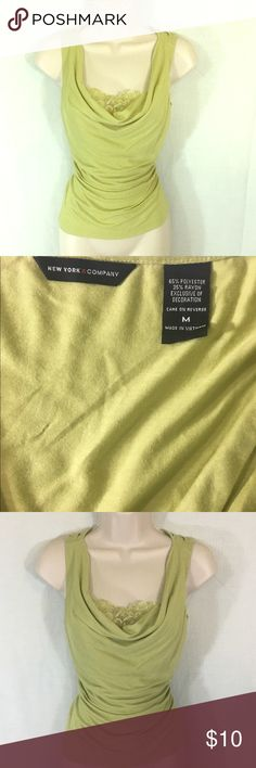 New York & Co. Green Top-M A light green top from New York & Co. the color is fun but the fit and Lace dress it up. Perfect to pair with a pair of slacks for a more professional look or jeans to wear casually! New York & Company Tops Blouses