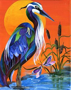 Acrylic painting of a great blue heron