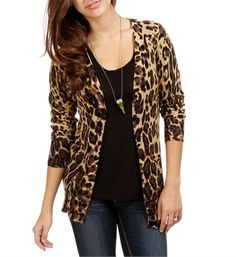 Because leopard.  Also, love where the cardigan hits this hips and that it's v instead of crew.