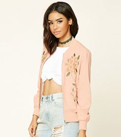 Forever 21 Embroidered Bomber Jacket