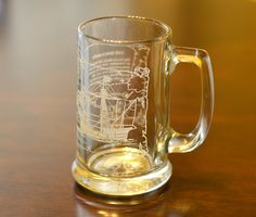 Vintage,Clear Glass,Christopher Columbus' ,The Santa Maria, Compass On Bottom,Beer Mug by HoneyQueenBee on Etsy