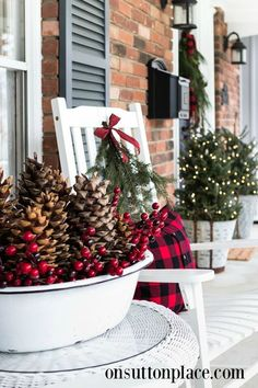 Farmhouse Christmas Decor Ideas. Beautiful Christmas decorations for your home. Frugal Christmas, Christmas Porch, Christmas Wreaths, Xmas, Christmas Decorations, Holiday Decor, Porch Decorating, Decorating Ideas, Decor Ideas