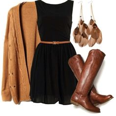 Brown and black, cozy and elegant. Black dress, brown boots, feather earrings.