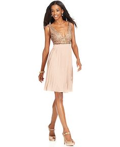 MM Couture Dress, Sleeveless V-Neck Sequined Pleated Chiffon A-Line$69.99