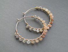 Moonstone earrings wire wrapped hoops 14k gold by MagraceJewelry