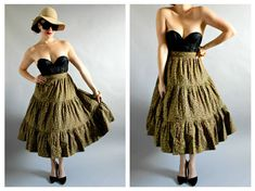 Floral 60s Circle Skirt- Country Pinup, M/L, Retro Yellow Red Tiered Full, Western Cowgirl Country Boho Chic- This is a 1960s classic tiered floral full skirt, with a tie waist for the perfect fit! Features 3 tiers, and yellow and red flowers with green