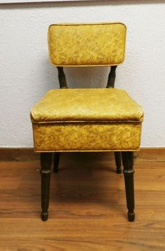 Mid-century Sewing Chair with Notions Box Under Seat