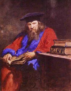 Repin, Il'ya (b,1844)- Dmitry Mendeleevw Book, At Desk, 1885 -2b