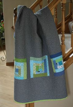 log cabin #quilt blocks on a pieced quilt back