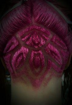 Mandala under cut, pink created with Keune colour