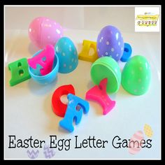 Easter Egg Kindergarten Letter Learning Fun Games for ages 2-7 years old.  HowToRunAHomeDaycare.com #Easter Egg Games   #Learning Letters #Early Reading