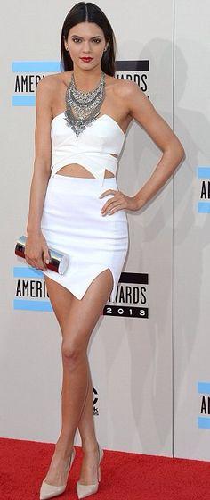 Cute look for Kendall Jenner.....White Keepsake Dress With Silver Criss-Cross Peep-Toe Christian Louboutin Pumps....