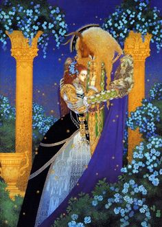 """""""Beauty and the Beast"""" by Toshiaki Kato      (I love the blue roses; they symbolize impossibility, because they themselves are impossible and have never in fact existed)"""