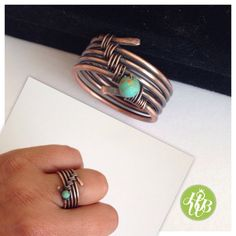 Band ring turquoise wire wrapped ring  by HappyWireBijoux on Etsy