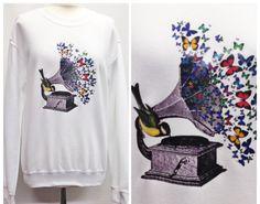 Handmade White Bird Butterfly Musical Gramophone Sweater Jumper by TheGrungeMonkey on Etsy