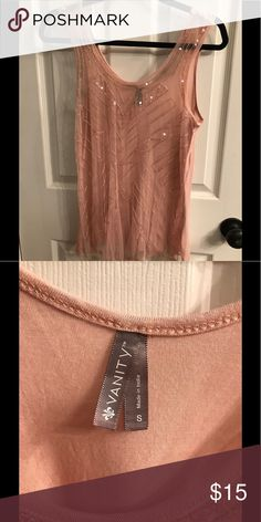 Vanity beaded tank top Sheer blush color tank top with intricate bead work.  New without tags. Vanity Tops Tank Tops