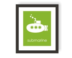 Submarine Nursery Art Print in Green Modern Custom by twowhiteowls, $15.00