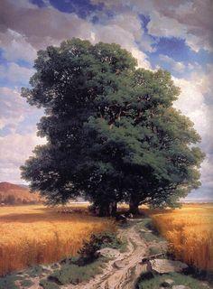 Paysage avec chênes, Peinture de l'artiste Alexandre Calame