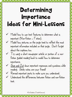 Mini-lessons for teaching determining importance with FREEBIE. TeacherKarma.com