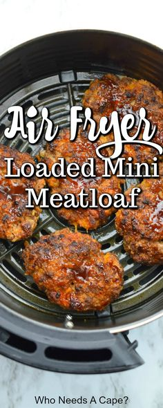 Air Fryer Loaded Mini Meatloaf - Need a comforting meal in a short amount of time? Whip up Air Fryer Loaded Mini Meatloaf. With beef - Air Fryer Oven Recipes, Air Frier Recipes, Air Fryer Dinner Recipes, Easy Dinner Recipes, Easy Meals, Air Fryer Recipes Meatloaf, Air Fryer Recipes Hamburger, Mini Meatloaf Recipes, Dessert Recipes
