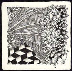 Zentangle - 22. Februar - Zentangle patterns: Printemps, Shattuck, Jonqual, Web, Luv-A
