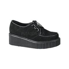 Women's Demonia Creeper 101 - Black Suede Casual (2,985 DOP) ❤ liked on Polyvore featuring shoes, black, casual, casual shoes, black platform shoes, demonia, creeper platform shoes, demonia footwear and demonia shoes