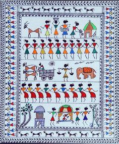 Nature's Music-Warli Painting - Handpainted Art Painting - X Worli Painting, Buddha Painting, Pottery Painting, Fabric Painting, Indian Art Paintings, Modern Art Paintings, Canvas Paintings, Arte Tribal, Tribal Art