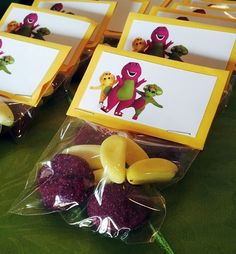 Purple & Yellow Sweets in Packets with Barney Bag Toppers Barney Birthday Party, Barney Party, Baby First Birthday, Kids Birthday Themes, First Birthday Parties, First Birthdays, Night Before Christmas Movie, Barney Christmas, Barney Cake