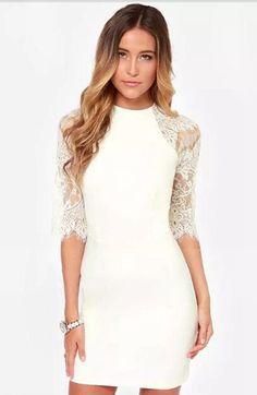 White Half Sleeve Lace Bodycon Dress | USTrendy
