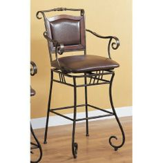 """Wildon Home 100159 Bingham Springs 29"""" Bar Chair with Arms and Cushion Seat in Black by Wildon Home. Save 78 Off!. $145.45. Transitional style. Dark brown bycast vinyl upholstery. Dark distressed gold metal finish. 100159 Features: -Bingham Springs 29'' Bar Chair with Arms and Cushion Seat.-Casual style. Color/Finish: -Black finish. Dimensions: -Dimensions: 21'' W x 23'' D."""