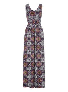 Liven your holiday wardrobe with this multicoloured maxi dress, designed with an exotic floral pattern and a stretch waistband with a gathered front. Wear with wedge sandals for a stylish silhouette. Multicoloured sleeveless maxi dress Floral pattern V-neckline Elasticated waistband Gathered front Model's height is 5'11 Holiday Wardrobe, Floral Maxi Dress, Wedge Sandals, Baby Kids, Exotic, Neckline, Silhouette, Summer Dresses, Stylish