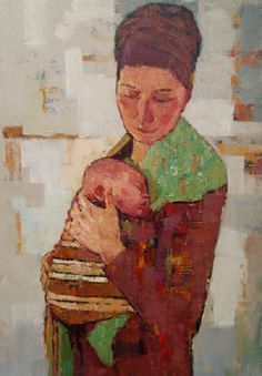 Artwork by Tetyana Khytko Artist Wall, Nz Art, Child Art, Art Faces, Baby Art, Sculpture, Mothers Love, Mother And Child, Kids And Parenting