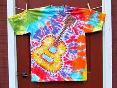 Tie Dye Tshirt  Acoustic Guitar  YOUTH sizes XS S M by twirlytoes